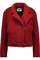Maison Martin Margiela Mm6 Faux Shearling Jacket Crimson