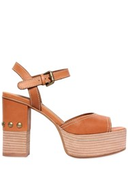 See By Chloe 105Mm Leather Sandals W Studs Tan