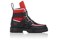 Paco Rabanne Women's Trek Leather And Jersey Ankle Boots Black Red White Burgundy
