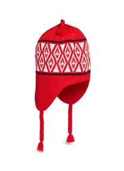 Burton Ear Flap Diamond Intarsia Beanie Red
