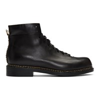 Feit Black Braided Lace Up Boots