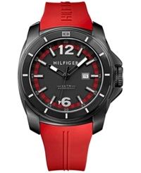 Tommy Hilfiger Men's Red Silicone Strap Watch 46Mm 1791112