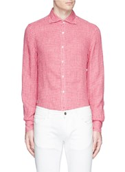 Isaia Gingham Check Linen Hopsack Shirt Red