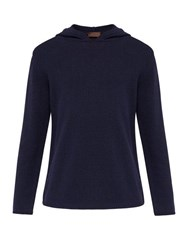 Altea Hooded Technical Knit Cotton Blend Sweater Navy