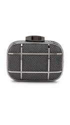 Whiting And Davis Cage Minaudiere Clutch Gunmetal
