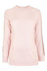 Topshop Maternity Lattice Stud Jumper Pale Pink