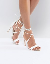 508c49b3079 True Decadence Satin Ankle Tie Barely There Heeled Sandal Ivory Satin White