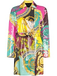 Versace Baroque Print Mac Coat Purple
