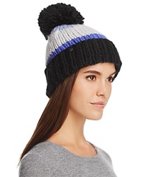 Kate Spade New York Hand Knit Color Block Beanie With Pom Pom Blue Black