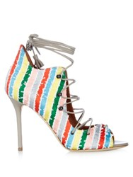 Malone Souliers Savannah Lace Up Striped Satin Sandals Multi