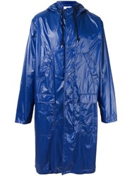 Msgm Logo Print Raincoat Blue