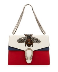 Gucci Dionysus Medium Embroidered Leather Shoulder Bag White Red Blue White Red