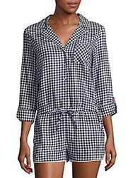 Jane And Bleecker Checkered Cotton Romper Navy Check