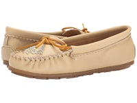 Minnetonka Deerskin Beaded Moc Champagne Deerskin Women's Moccasin Shoes Bone