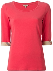 Burberry Brit Three Quarter Length Sleeve T Shirt Pink And Purple