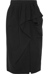 Michael Kors Collection Pleated Stretch Wool Twill Skirt Black