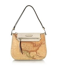Alviero Martini 1A Classe Australia Geo Printed Hobo Bag W Cream Ostrich Print Leather Details