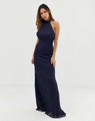 Liquorish Halterneck Maxi Dress With Lace Overlay And Trim Detail Navy