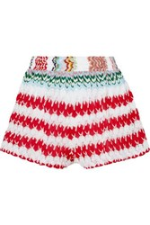 Missoni Mare Donna Crochet Knit Shorts Red