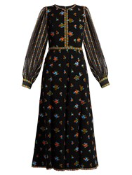 Andrew Gn Floral Embroidered Crepe Dress Black Multi