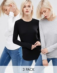 Asos Crop Crew Neck Long Sleeve T Shirt 3 Pack Black White Greymarl Multi
