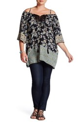 Angie Crochet Cold Shoulder Tunic Plus Size Black
