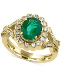 Effy Collection Brasilica By Effy Emerald 1 1 2 Ct. T.W. And Diamond 3 8 Ct. T.W. Ring In 14K Gold