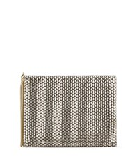 Reiss Cindy Embellish Womens Beaded Clutch Bag In Grey