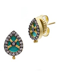 Freida Rothman Color Theory Teardrop Stud Earrings Turquoise Gold