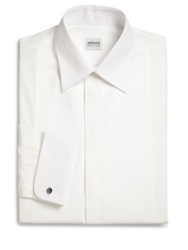 Armani Collezioni French Cuff Tuxedo Shirt White