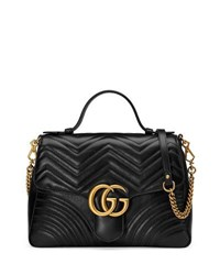 Gucci Gg Marmont Medium Chevron Quilted Top Handle Bag With Chain Strap Black
