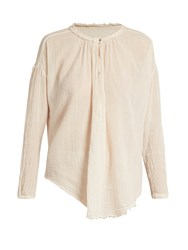 Raquel Allegra Frayed Edge Cotton Gauze Blouse White