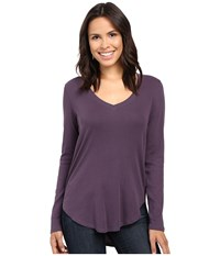 Lilla P Fine Rib Long Sleeve V Neck Nightshade Women's Clothing Gray