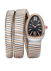 Bulgari Serpenti Tubogas Rose Gold Stainless Steel And Diamond Double Twist Watch
