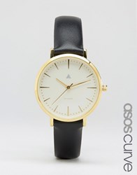 Asos Curve Clean Dial Black Leather Watch Black