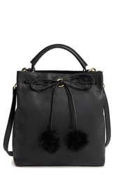 Louise Et Cie Large Yvette Genuine Rabbit Fur And Leather Bucket Bag
