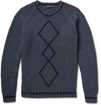 Etro Argyle Ribbed Knit Wool Sweater Blue