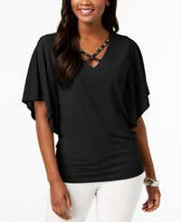 Jm Collection Strappy Butterfly Sleeve Top Created For Macy's Deep Black