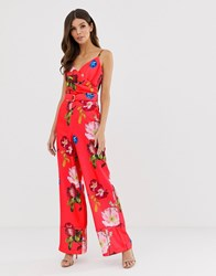 Ted Baker Piiper Wrap Jumpsuit In Berry Sundae Red