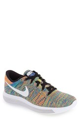 Nike Men's 'Lunarepic Low Flyknit' Running Shoe Black White Blue Crimson