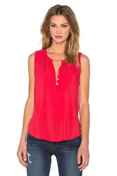 Velvet By Graham And Spencer Eleanor Rayon Challis Three Button Tank Red