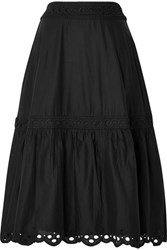 J.Crew Broderie Anglaise Trimmed Organic Cotton Voile Midi Skirt Black