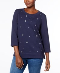 Karen Scott Petite Grommet Detail Sweatshirt Created For Macy's Intrepid Blue