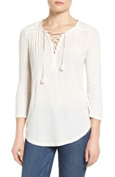 Lucky Brand Women's Lace Up Peasant Top Marshmallow