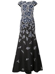 Carolina Herrera Floral Embroidered Gown Blue