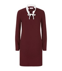 Sandro Ellen Ruffle Collar Dress Female Burgundy