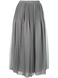 Red Valentino Pleat And Polka Dot Panel Skirt Grey