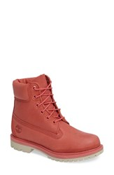 Timberland Women's '6 Inch Premium' Waterproof Boot Spiced Coral Nubuck Leather