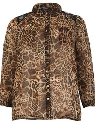 Samya Plus Size Leopard Print Shirt Dark Brown
