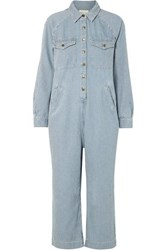 The Great Cropped Boiler Striped Cotton Jumpsuit Blue